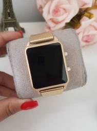 Relógio Digital Led Rose Dourado Feminino
