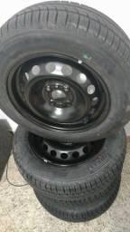 Jogo completo de 4 pneus 175/65 pirelli p1 + aro ford R14 ZERO