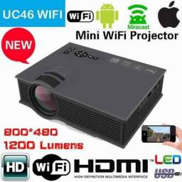 Mini Projetor Led Uc46 Unic 130pol 1200lumen Wifi Celular