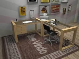 Mesa de escritório, feita em Madeira Maciça e tampo em vidro 8mm. PZap