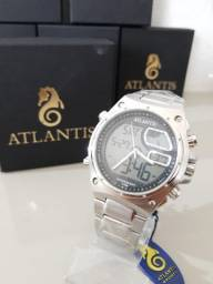 Relógio masculino Atlantis dual time promoção