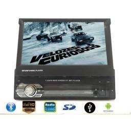 """Rádio MP5 Retrátil GPS Espelhamento de celular Bluetooth e Tela de 7"""" Full HD"""