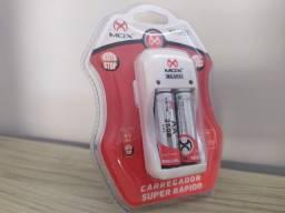 Carregador de Pilhas Recarregáveis Com 2 Pilhas AA