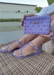 Kit sandália e carteira
