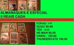 Título do anúncio: lote gibis gugu thundercats he-man varig almanaque colecionador