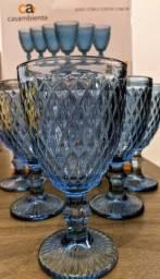 Jogo de taças p/ água azul 06 peças.