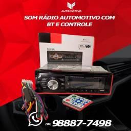 Som rádio automotivo com Bluetooth e controle / usb / 2 saidas rca