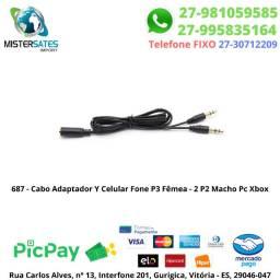 687 - Cabo Adaptador Y Celular Fone P3 Fêmea - 2 P2 Macho Pc Xbox