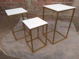 Kit 3 mesas cubo