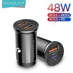 Carregador Veicular Rápido Usb Qc 3.0 Pd 3.0 48w