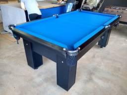 Mesa Charme MDF Cor Preta Tecido Azul Mod. BSAE1330