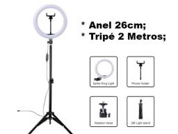 (NOVO) Ring Light Iluminador Portátil 26cm com Tripé 2,0 metros e Suporte Celular