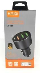 Carregador Veicular Kaidi Kd113A 3 Usb Com Cabo Lightning iOS Original Novo na Caixa