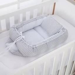 Ninho + Almofada de amamentação Cinza com Branco