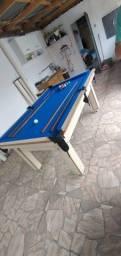 Mesa Tentação de Sinuca Cor Noce Tecido Azul Mod. SDAQ0594