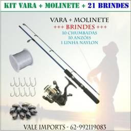 KIT de Pesca com Vara + Molinete + 21 Brindes