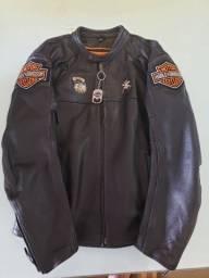 Jaqueta de couro legítimo estilizada Harley Davidson