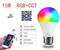 Lâmpada Smart wifi 15w RGB + Branco Frio Compatível Com Alexa e Google Assistente