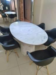Mesa de Jantar - Oval - Marmore Branco Rajado - 200x100