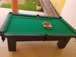 Mesa Charme de Bilhar e Jantar Cor Preta Tecido Verde Mod. BSAE5404