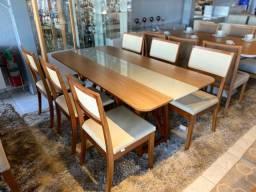 Mesa total de madeira maciça pronta entrega encosto telinha