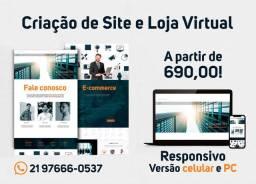 Website e E-Commerce (Loja Virtual). Site com versão PC e celular.