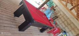 Mesa Charme de Bilhar e Jantar Cor Preta Tecido Vermelho Mod. BSAE6646