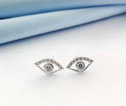 Brinco Prata 925 Olho Grego Delicado pequeno