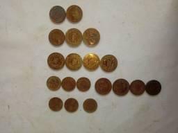 19 moedas antigas (reis) niquel