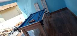 Mesa Tentação MDF Cor Noce Tecido Azul Mod. KJTX0293
