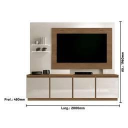 """Rack Home R502 p TV 55"""", 2,00 m, rodízio embutido e Prateleira de vidro com iluminação"""