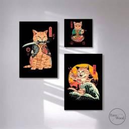 Kit 3 Quadros Decorativos Gato Japonês Para Quarto Sala Mdf