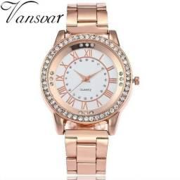 Relógio Feminino Vansvar V135 Quartzo Rosa Aço Inoxidável