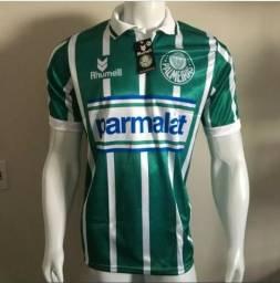 Camisa Palmeiras Listrada - Parmalat - Campeão 1993 - Retrô 0547ee394de50
