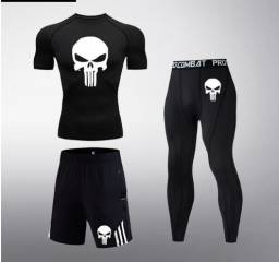Conjunto trio treino fitness Punisher