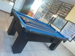 Mesa Charme de Bilhar Cor Preta Tecido Azul Mod. JJFS080
