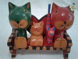 Oferta Decoração em Madeira Familia de Gatos