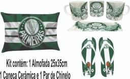 Kit Futebol Personalizado - Caneca+Almofada+Chinelo