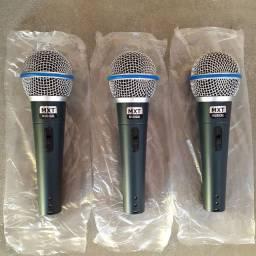 3 microfones + cabos + cachimbos + maleta