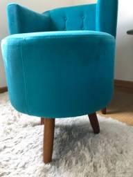 2 puffs suede azul tiffany/turquesa