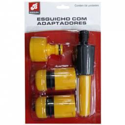Kit esguicho engate rápido para mangueira amarelo com 4 peças