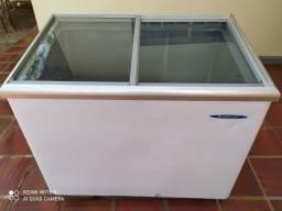Freezer Gelopar horizontal 300lt 110V tampa de vidro.