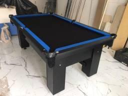 Mesa Charme MDF Cor Preta Tecido Preto e Borda Azul Mod. BSAE0496