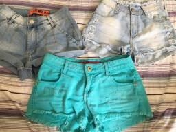 3 Shorts Jeans (Tamanho: 34)