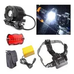 Atenção Ciclistas - Lanterna Farol Bike Led T6 Cabeça 29.000 Lumens 6 Baterias