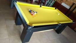 Mesa Charme de Sinuca e Jantar | Mesa Preta | Tecido Amarelo | Modelo: BUOV0264