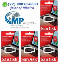 Pen Drive 16gb / 32gb / 64gb / 128gb Sandisk Ultra / Cruzer Blade / Class ! opção 12vezes!