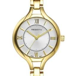ba49a9e5e6a Relógio Feminino Rebirth Dourado Original Movimento Japonês 100% Novo e  Original