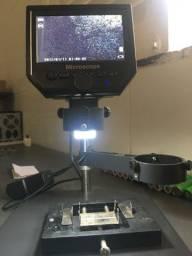 Microscópio 1080p 3.6mp com lcd e suporte