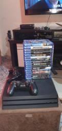 Playstation 4 PRO Seminovo + 2 controles + 16 jogos mídias físicas